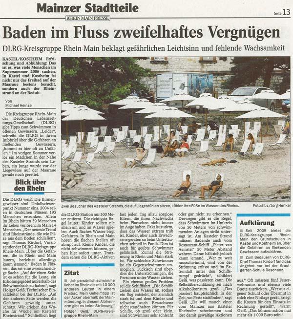 Artikel Allgemeine Zeitung Mainz zu Baden im Fluss