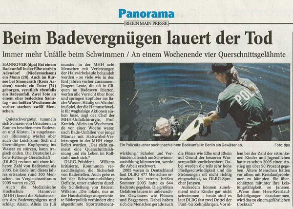 Artikel Allgemeine Zeitung Mainz zu Badeunfällen